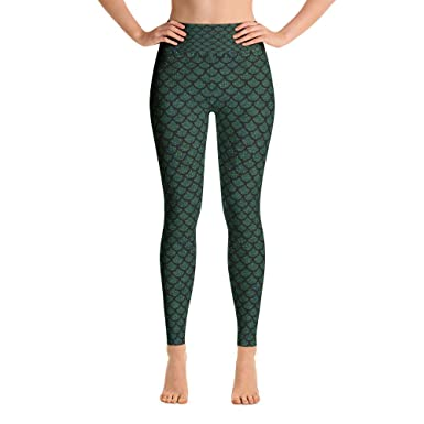 e87a7d8706 Image Unavailable. Image not available for. Color: green mermaid print Yoga  Leggings