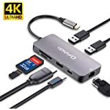 USB C ハブ Onshida USB Type C ハブ 7in1 USB C ドッキングステーション LAN 1000Mbps 4K HDMI 出力 PD充電対応 USB3.0ハブ SD/Micro SD カードリーダー HDMI変換アダプタ MacBook MacBook Pro ChromeBook HP Spectre Surface GOなど対応(アルミニウム グレー)