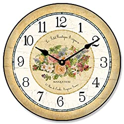 The Big Clock Store Emilie Floral Wall Clock, Available in 8 sizes, Most Sizes Ship 2-3 days, Whisper Quiet.