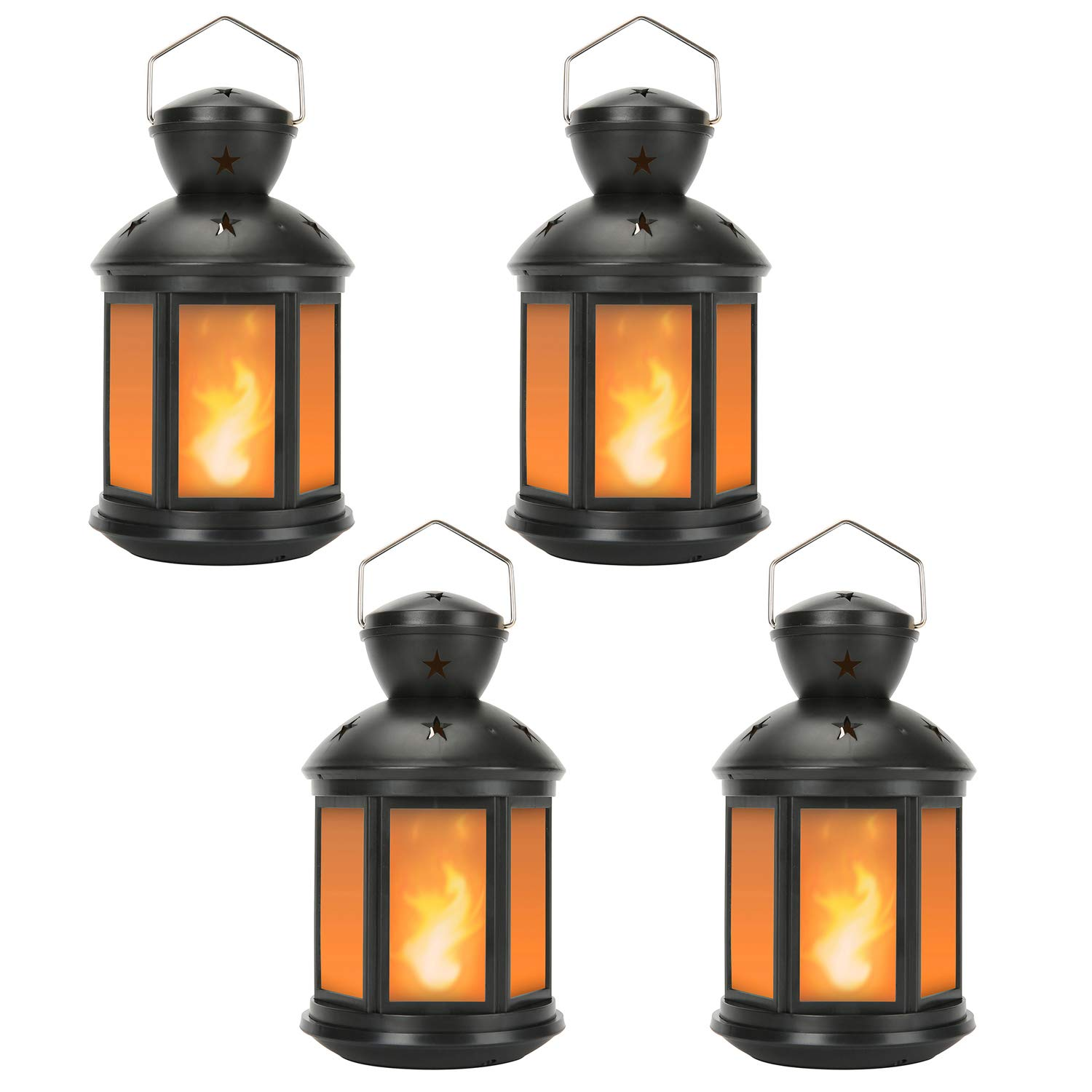 Decorative Lanterns Battery Powered LED, with 6 Hours Timer,Indoor/Outdoor,Lanterns Decorative for Wedding,Parties,Black-4pcs