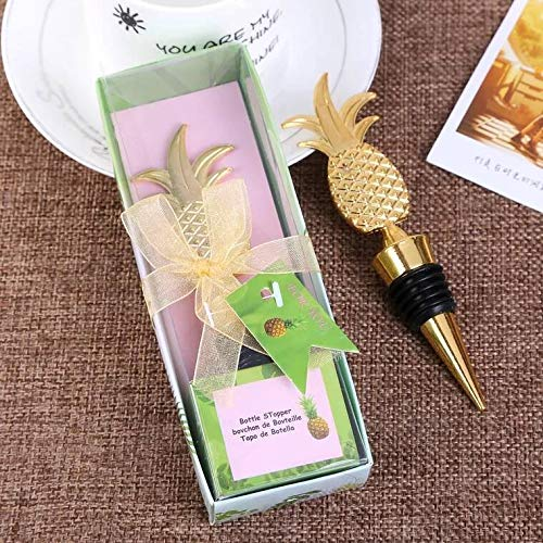24 PCS Wedding Favor for Guests,Golden Pineapple Wine Bottle Stopper Beer Wine Cork Plug Champagne Saver with Gift Box for for Party Souvenirs Gift Supplies by WeddParty(Pack of 24 Golden ()