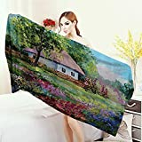 Anhounine Washable Large Bath Towel Lakehouse Decor Collection Rural Stone House with a Small Garden Covered with Wooden Fence Flowers Trees Oil Painting 100% microfiber 55''x27.5'' Purple Green