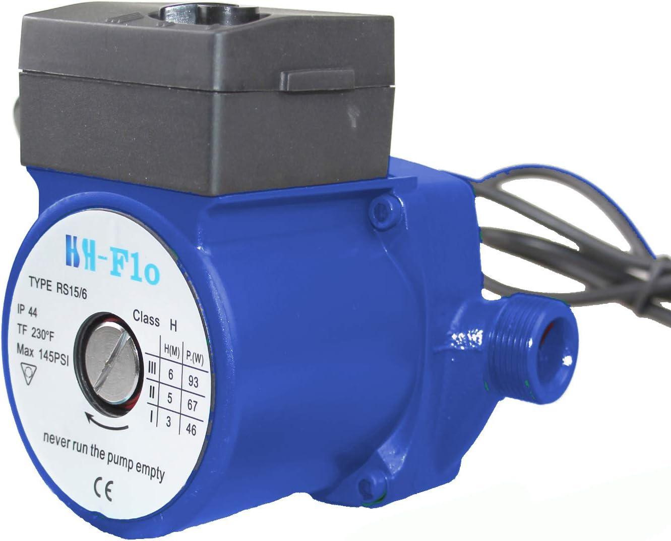 "HSH-Flo 3/4"" NPT 20Ft/29Ft 110VAC 60Hz Cast Iron/Stainless Steel Hot Water Circulator Pump/Circulation Pump For Solar Heater (20Ft Head Cast Iron)"