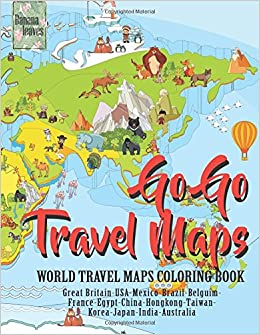 amazoncom go go travel maps world travel map coloring book anti stress art therapy coloring book 25 pictures 9781974283736 banana leaves books - Map Coloring Book
