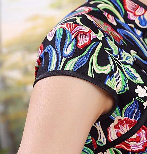 Cheongsam in cinese Dress Black Acvip Short stile Qipao Classic Woman wHq101