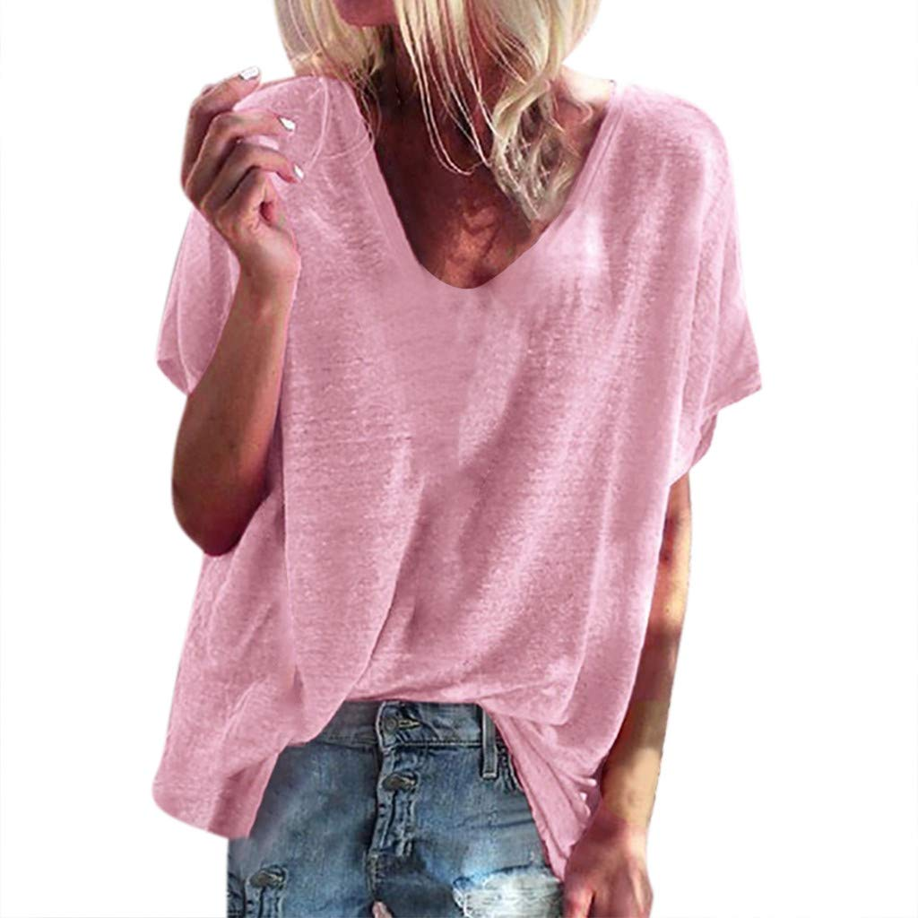 Women Blouse Casual Short Sleeve V-Neck Tops Summer Loose Solid Color Shirt Pullover T-Shirts Fashion Elegant Tees (Pink, M)
