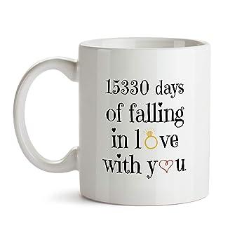 Amazon 42nd Wedding Anniversary Gift Mug Bb17 Days Of Falling