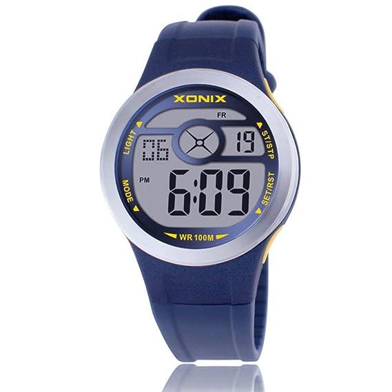 Chica elegante eLEDImpermeable reloj/Relojes electrónicos de múltiples funciones noche digital-F: Amazon.es: Relojes