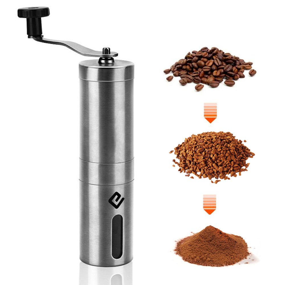 CHARMINGEL Coffee Grinder Manual Coffee Bean Grinder Portable Hand Crank Coffee Burr Mill Grinding Machine 304 Stainless Steel Brushed Pattern for Home Office Outdoor Travel