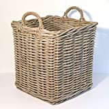 Fireside Log Basket Grey Medium Square Wicker Rattan Wood Storage