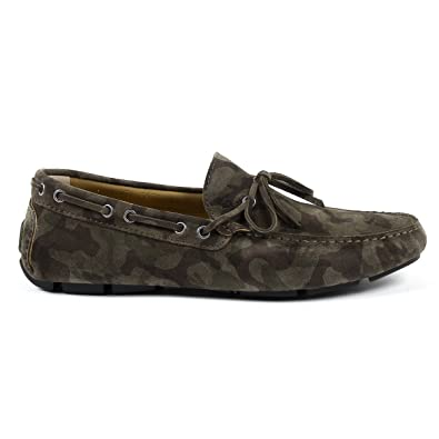 V 1969 Italia Men's 8103CAMOUFLAGE Green Suede Loafers