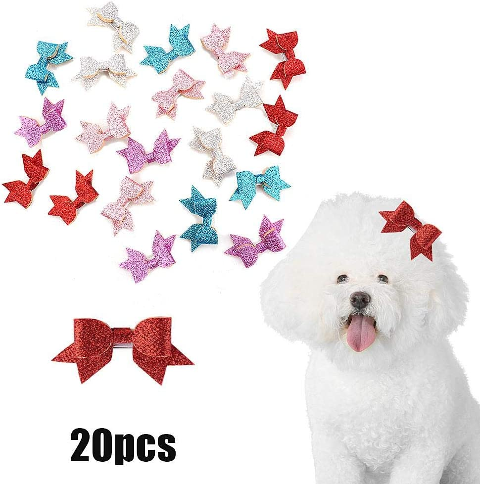 20Pcs Pet Hair Clips Cute Bowknot Dog Cat Hairpins Shinny Sparkling Sequins Hair Bows Pet Headwear Hair Accessories with Clips for Cats Small Medium Dogs