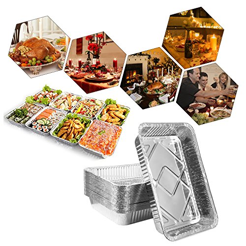 Disposable Aluminum Foil Pans,Fohuas 9'' x 13'' Half Size Deep Steam Table Pans Freezer & Oven Safe Food Containers for Baking, Cooking, Roasting & Reheating (24 Pack) by fohuas (Image #4)