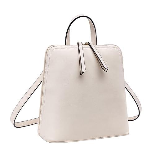 Shengdilu mochila de piel auténtica para mujer bolso de mano bolso de escuela de mango Crossbody Hombro Bolsa, color Beige, talla Talla Unica: Amazon.es: ...