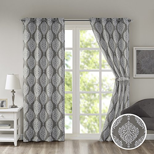 Comfort Spaces Room Darkening Curtains for Bedroom - Miya Basketweave Damask Printed 4 Pieces Window Curtains Pair Tie Back Window Set - Charcoal - 42x84 Inch Panel - Grommet Top