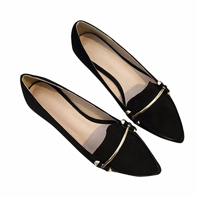 YUCH Chaussures Femmes Simple Fond Plat Peu Profond A Souligné Chaussures Nike Shox,OU,37
