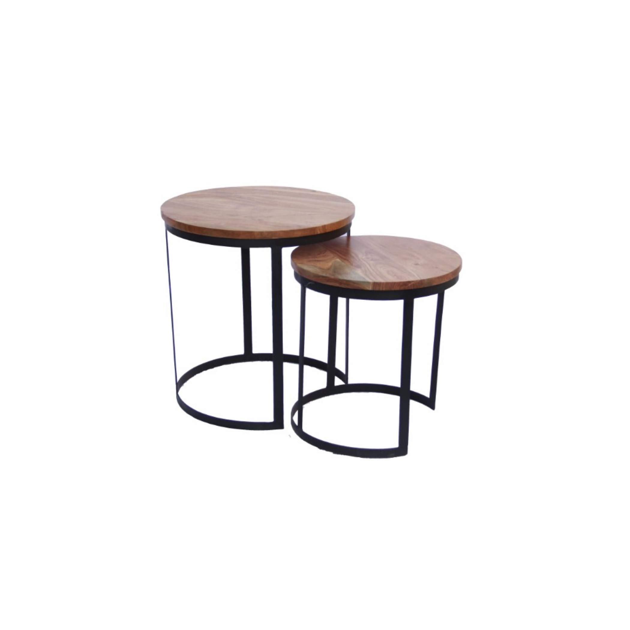 The Urban Port 69100 Industrial Style Round Nesting Tables,Set Of 2, Brown And Black by The Urban Port