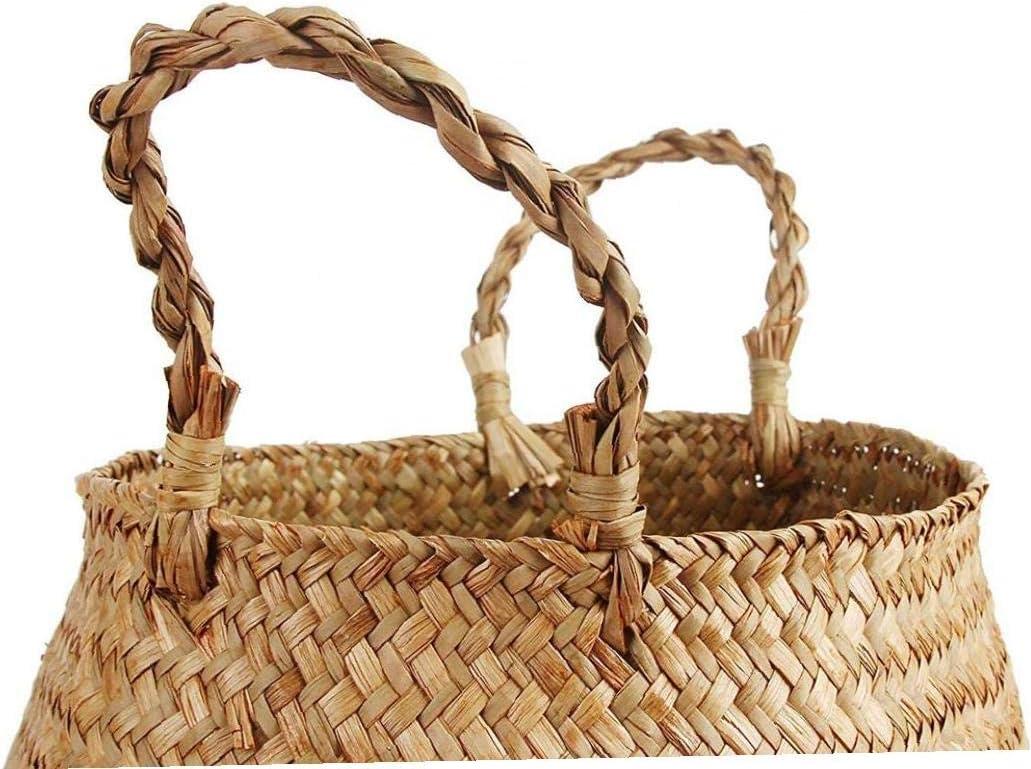 32x28cm Berrywho Cesta de la Flor en Maceta Plantas Seagrass Canasta de Almacenamiento con Asas Tejida del Vientre Tiesto Organizador para lavander/ía de Picnic Sala de Estar Dormitorio