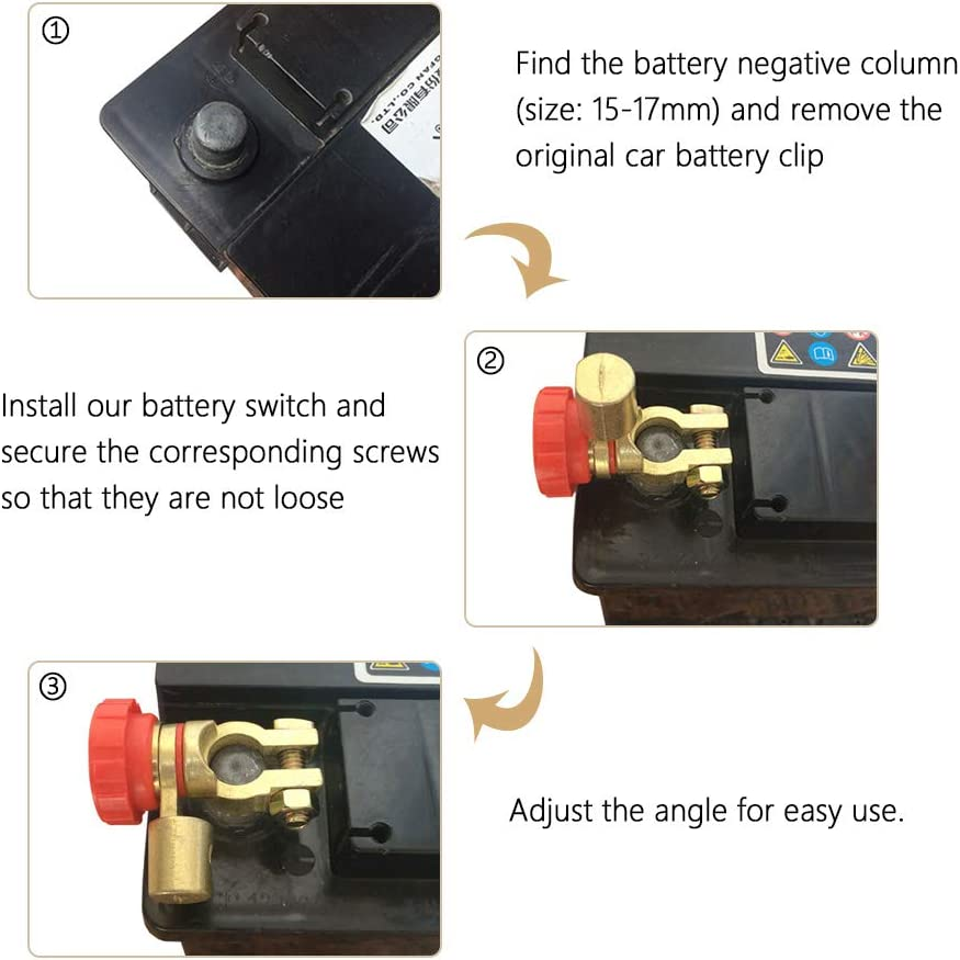 HerMia Battery Master Disconnect Switch 24V Car Rv Truck Marine Boat Vehicles Battery Link Terminal Switch Isolator for Power Disconnect Cut Off 12V
