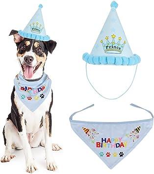 Welpen Geschenk und Party-Dekoration Geburtstagsparty-Zubeh/ör THETAG Hunde-Geburtstags-Halstuch blau Set Geburtstagsparty-Hut f/ür Hunde dreieckige Schals