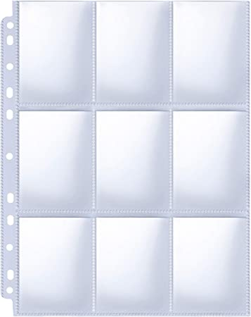 HERKKA Trading Card Sleeve Pages, 100 Pack 9 Pocket Trading Card Storage Album Pages 11 Holes Fit 3 Ring Binder