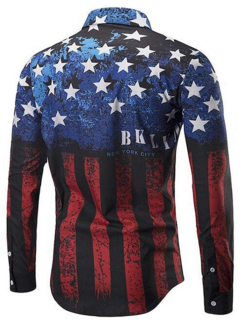 YYG Men Long Sleeve Casual Button Up American Flag Print Plus Size Shirt