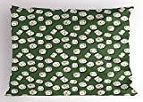Lunarable Casino Pillow Sham, Cartoon Style Dices Pattern on Green Background Chance Game Lucky Jackpot, Decorative Standard Queen Size Printed Pillowcase, 30 X 20 inches, Green Cream Black