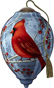 Precious Moments Cardinal with Berries and Buffalo Plaid Ornament, Multi