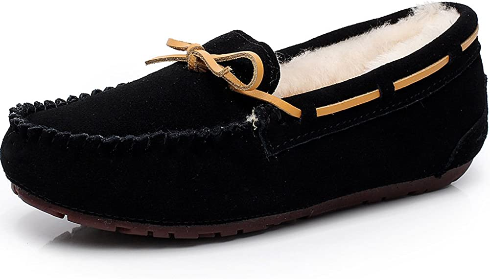ANUFER Women's High-End Winter Warm Wool Moccasin Slippers