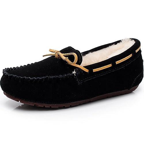 Jamron Mujer Gama Alta Forro de Lana de Piel de Oveja Calentar Zapatillas Invierno Ante Mocasines Planos: Amazon.es: Zapatos y complementos