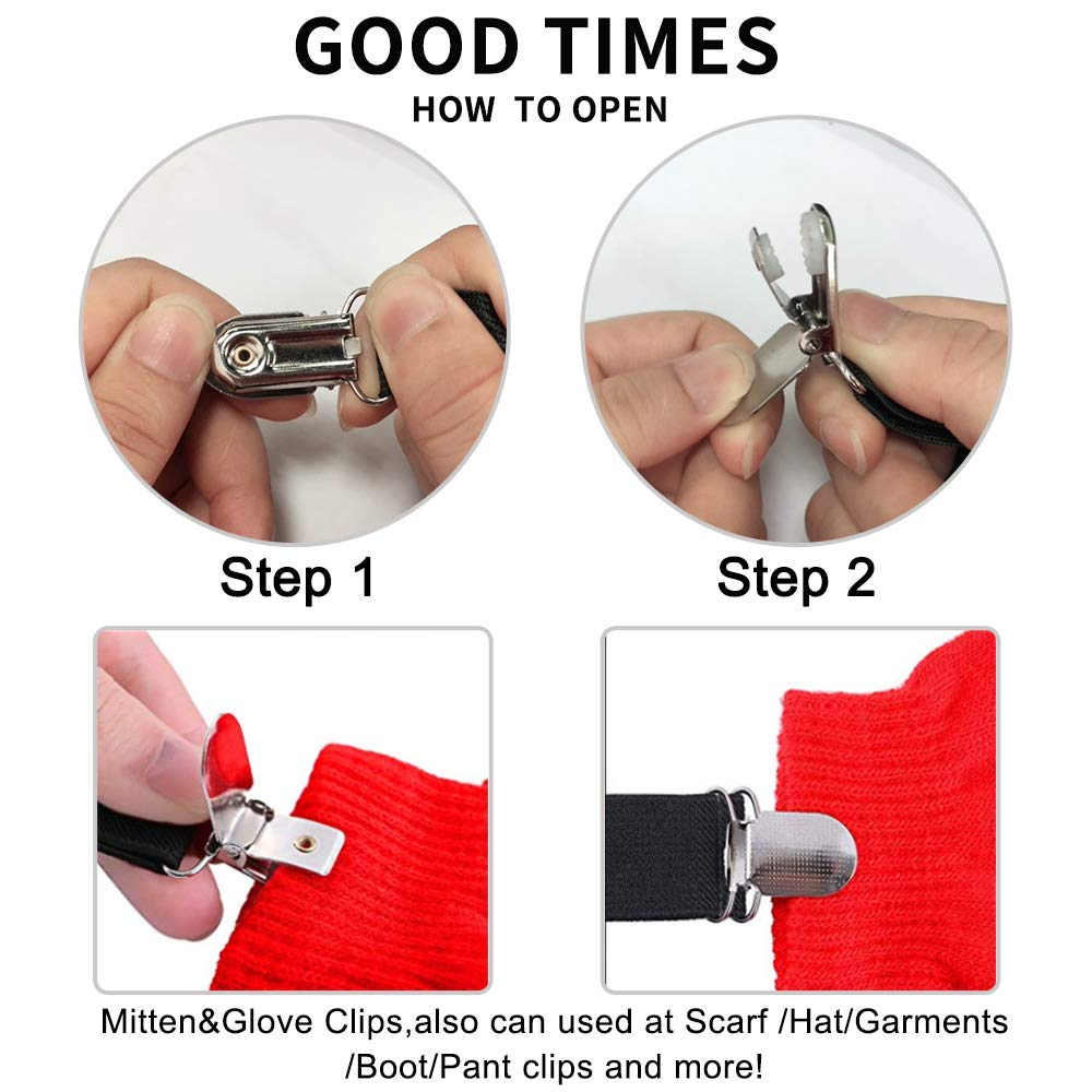 Elastic Glove and Mitten Clips for Kids and Baby Extra Strong Stainless Steel Hat and Scarf and Glove Grip Clips