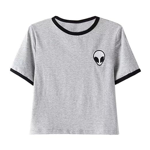 UR Ladies Teen Girls Short Sleeve Funny Cute Alien Crop Top T-shirt