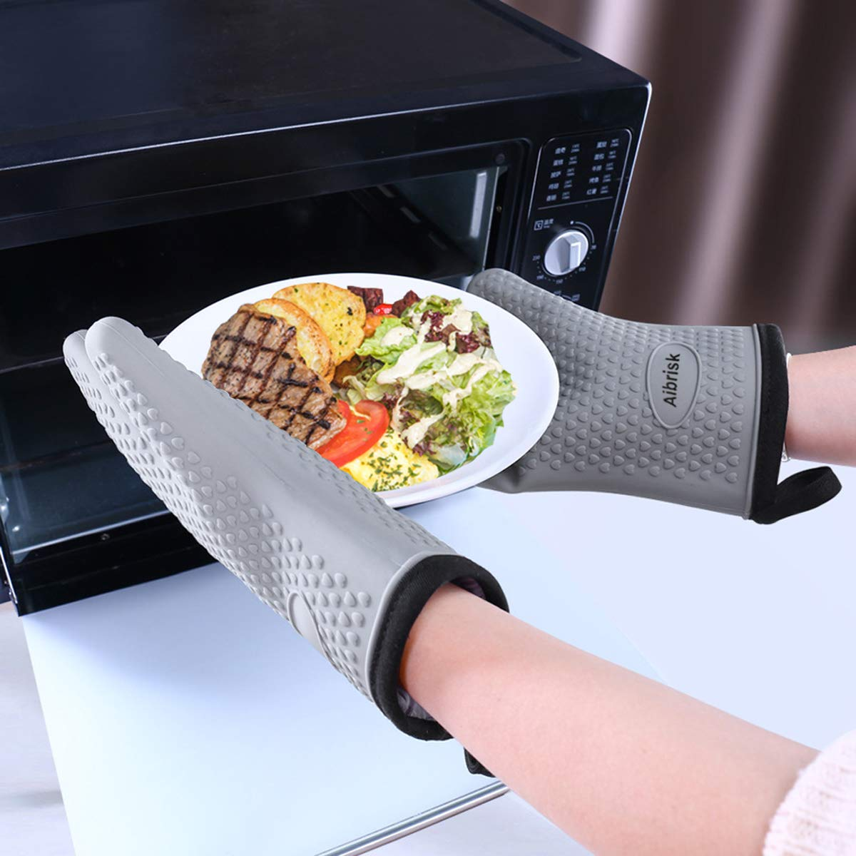 Aibrisk Silicone Oven Mitts And Pot Holders 4pcs Thicken Heat Resistant Flexible Non Slip Surface Cooking Gloves And Potholders Trivet Mats For Safe Oven Bbq Kitchen Counter Hot Dishes Or Pans Kitchen Dining