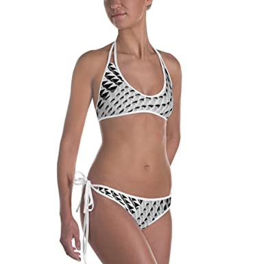 14eb11883aa Image Unavailable. Image not available for. Color: SKANDY Women's Black  Slash Swimsuit Bikini Set - White Pinstripe