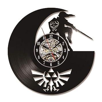 Mcho&ff The Legend of Zelda Antiguo Disco de Vinilo Reloj de Pared Hecho a Mano Sombra