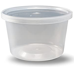 DuraHome - Deli Containers with Lids, 16 oz. Made in USA - Pack of 40, Plastic Microwaveable Clear Food Storage Container Premium Quality, leakproof