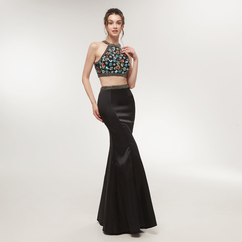 4317ab2a7c81 Amazon.com: Lava-ring Women's Two Piece Mermaid Prom Dress Crystal Beaded  Halter Neck Long Dress: Clothing