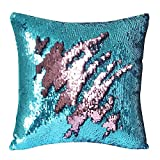 "TRLYC Turquoise and Rose Pink Double Color Reversible Sequin Pillow Case Sparkly Cushion Cover for Baby Shower-16""x16"""