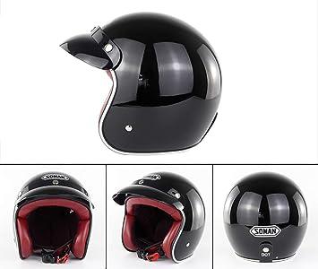 XBTIC Casco para Motocicleta D.O.T Certificado Vintage Open Face Harley Cascos Jet Pilot Scooter Casco Modular