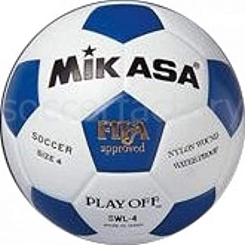 Mikasa SWL-4 - Balón de fútbol, Color Blanco/Azul, Talla 4: Amazon ...