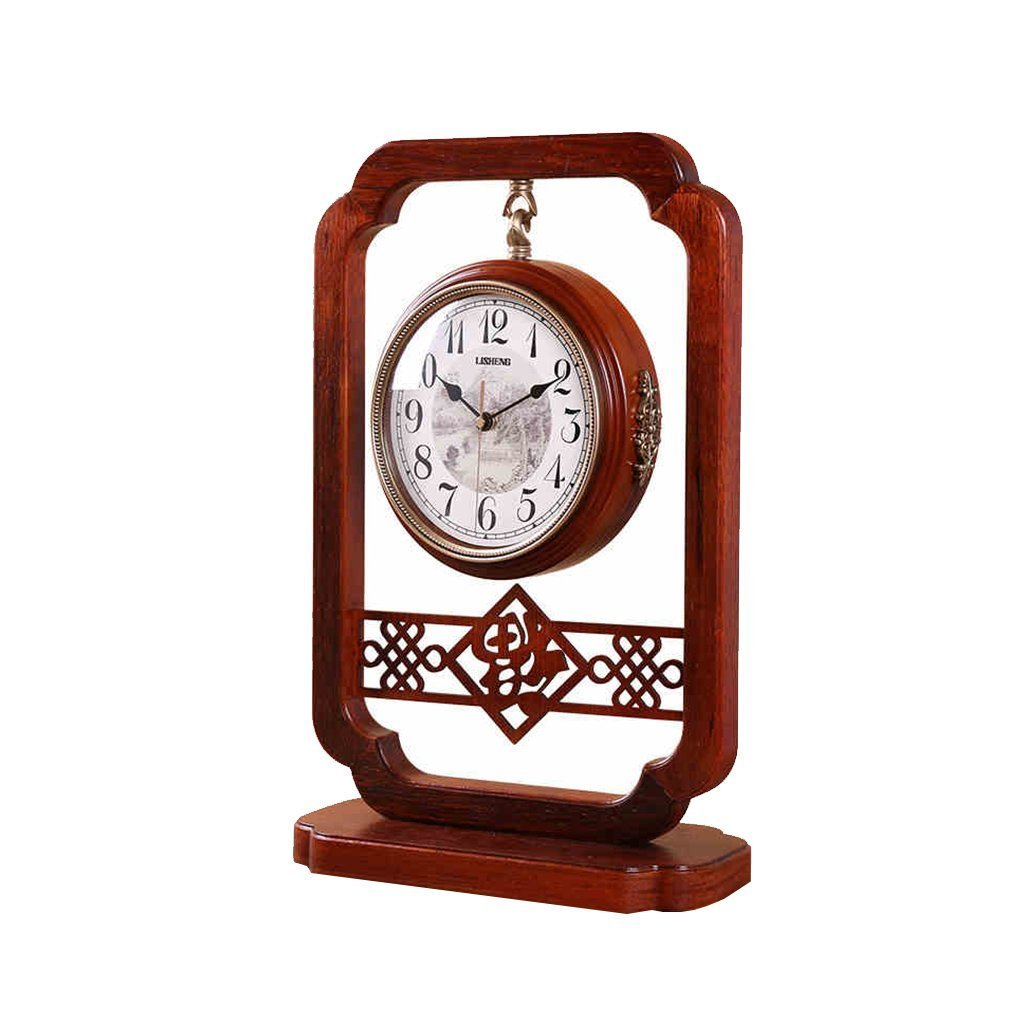 Health UK Clock- Clock Classical Double-Sided Solid Wood Brown Antique Quartz Desktop Clock Mute Arabic Numerals HD Dial Plate Sitting Bell Welcome