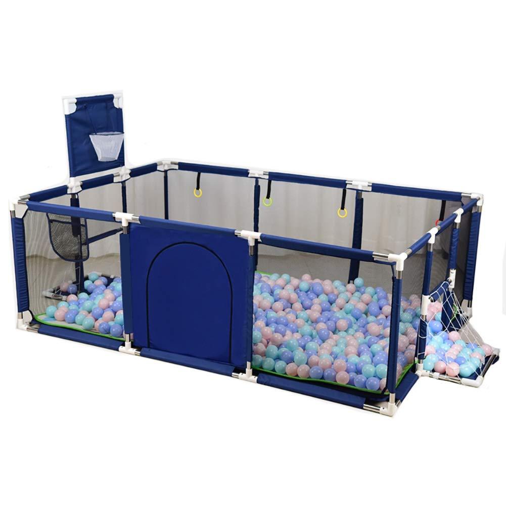 -ベビーサークル 大型遊戯男の子のベビーサークル、バスケットボールネット/ボールホール付き屋内安全遊び場、190×129×66cm(マットなし) (Color : Blue)  Blue B07QPQTLQL