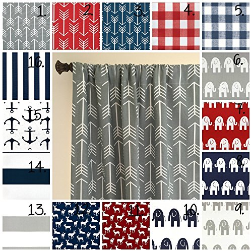 Baby Boy Nursery Curtain Panel Set Elephant Drapes Stripe Curtains Arrow Curtains Navy Blue Arrow Curtains Baby Boy Curtains Red White Blue Set of 2 Choose Fabric and Size