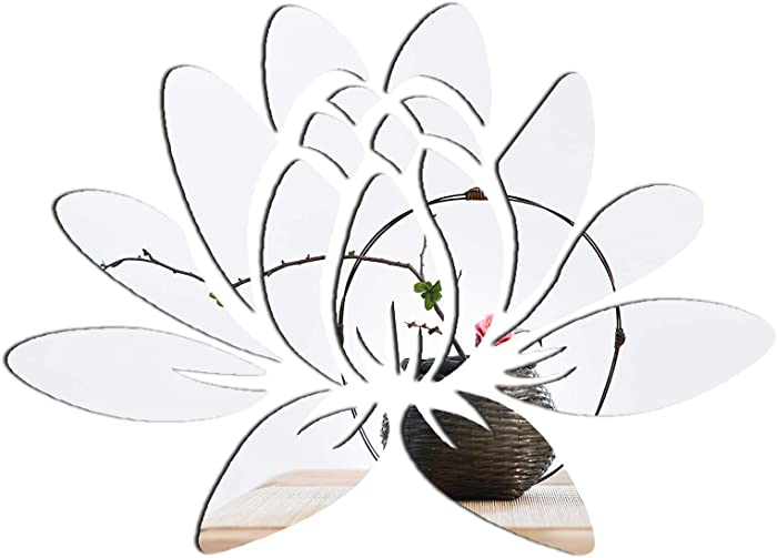 CUNYA 3D Mirror Lotus Flower Wall Decor Sticker, Peel and Stick Wall Art Decals, Removable Acrylic Mirrors for Wall Living Room, Bedroom, Farmhouse Decor (Silver)