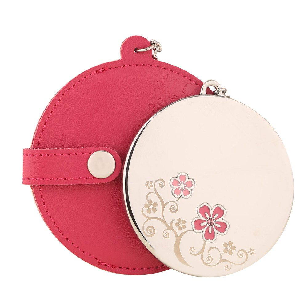 MILESI Women's Cherry Blossom Round Pink Makeup Mirror with Leather Holster (Pink) H0041