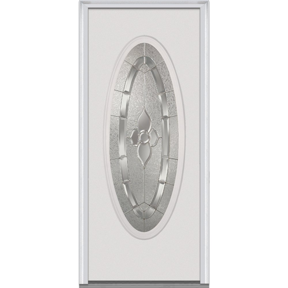 National Door Company EMJ919MNN210FSVL Steel Prehung Left Hand In-Swing Entry Door with Master Nouveau Decorative Glass, Full Oval Lite, 34'' x 80''