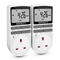Digital Electrical Plug in Timer Socket 24 Hours / 7 Day Weekly Programmable Light Switch with Anti-Theft Random Mode (2 Pack)