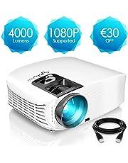 Proyector HD, ELEPHAS 1080P LCD Video proyector Full HD con 4000 lúmenes, Cine en casa con una Pantalla de 200 Pulgadas, Compatible con HDMI VGA AV USB Micro SD, Blanco
