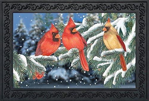 Briarwood Lane Winter Cardinal Trio Doormat Seasonal Birds Indoor Outdoor 18 x 30