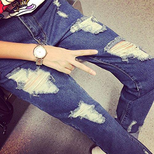 Haute Leggings Pantalon Bleu Taille Jeans Femme Denim Trou Printemps Boyfriend fWqc7X